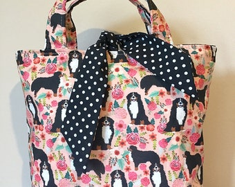 Bernese mountain dog print handbag