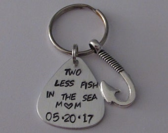 Two less fish in the sea, Fishing Keychain, Anniversary Gift, Fisherman Gift, Husband Gift, Lure, Customized Lure, Spouse Gift, Fishing Lure