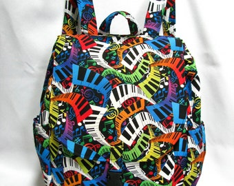 Large Backpack- Crazy fun piano cotton print