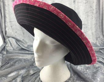 Black sun hat, pink and black sun hat, cotton sun hat