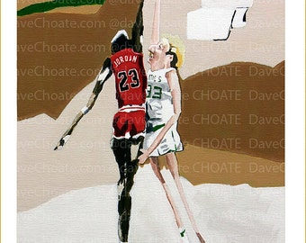 Michael and Larry Bird. Bulls vs Celtics. Art Print