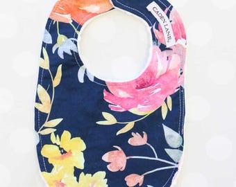 Midnight Navy Floral Minky Baby Bib  | Watercolor Floral Baby Girl Gift | Newborn Bib