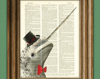 Dapper Narwhal is ready for the meetup beautifully upcycled dictionary page book art print