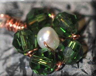 Green Crystal Flower Earrings