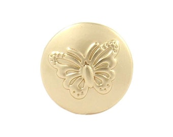 Metal Buttons - Embossed Butterfly Pearlized Gold Metal Shank Buttons - 11mm - 7/16 inch - 6 pcs