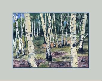 Aspen Trees, Watercolor Giclee Print, Landscape, Colorado Art, Southwestern Art, Aspen Forest, Unframed