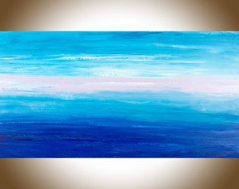 """Large Abstract art abstract painting original landscape painting on canvas wall art wall decor wall hanging """"Blue Abstract"""" by qiqigallery"""