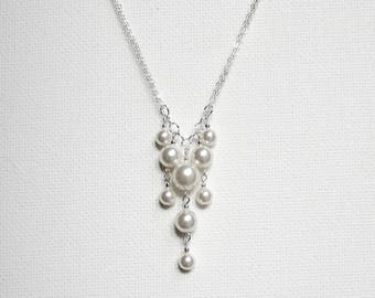 Simple Bridal Necklace Pearl Wedding Necklace Sterling Silver Pearl Wedding Necklace Wedding Jewelry Bridal Jewelry Pearl Cluster Necklace