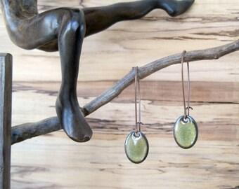 Olive Green Oval Dangle Earrings, Oval Drop Earrings, Copper Enamel, Mossy Green, Green Chandelier Earrings