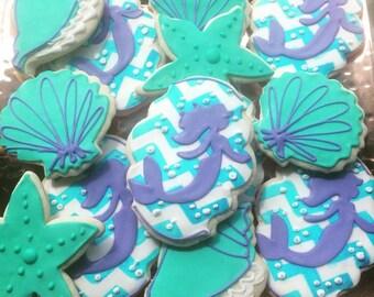 1 dozen mermaid theme cookies!