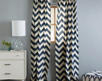 Navy and White Largae Chevron Cotton Curatins, Chevron Curtains, Navy Blue Chevron Curatins, Window Treatments/ Curtains