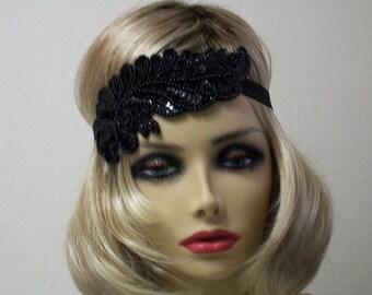 Beaded 1920s headband, Flapper headband, Great Gatsby headband, Downton Abbey, Flapper headpiece, Gatsby headband, Art Deco headband