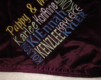 Family Children Grandparent embroidered blanket throw Mink Sherpa Gift Mother's Day