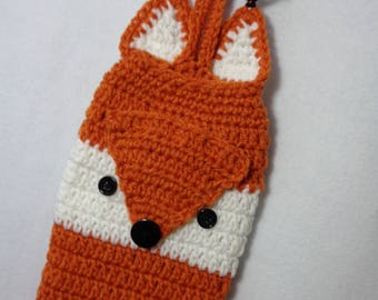 Crochet Fox Plastic Bag Holder, Fox Kitchen Decor in Dark Orange and White, Walmart Bag Holder by Charlene, Gift for Mom, MADE TO ORDER