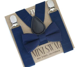 Navy Boys Wedding Bow Tie and Suspender Set, Ring Bearer Outfit, Navy Wedding Suspenders, Cake Smash Outfit, Navy Ring Bearer Bow Tie