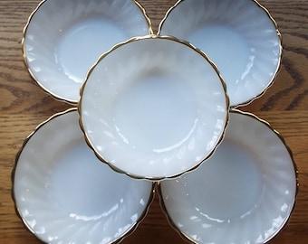 Vintage Anchor Hocking Classic/Rachael design~Set of 5 Fruit Bowls with 22Kt Gold Trim