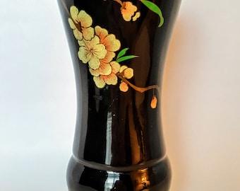 Japanese Shikki Black Lacquerware Vase Fluted Bamboo Section Hand Painted Cherry Blossoms Sakura Nurimono Urushi-Nuri 1950s