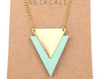 Triangle Necklace - Geometric Necklace - Laser cut wood and Brass - Gift for her - Christmas gift for her - stocking filler-Light Turquoise
