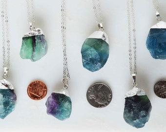 Rainbow fluorite necklace, blue fluorite necklace, green fluorite necklace, raw rainbow fluorite necklace, raw blue fluorite necklace silver