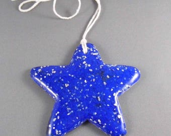 Cobalt Blue Glittering Star.  Light Catcher.  Hanging Ornament.  Fused Glass.  Hand Made.  Unique.