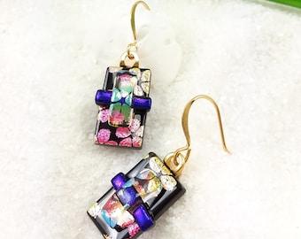 Fused dichroic glass jewelry, Dichroic earrings, fused glass earrings, dichroic glass, jewelry handmade, sakura blossoms, unusual earrings