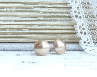 Rose Gold Pearl Studs Pearl Stud Earrings 8mm Rose Gold Pearl Earrings Surgical Steel Studs Rose Gold Studs