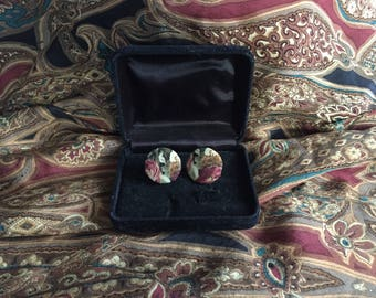 Pair of Vintage Floral Covered Button Earrings