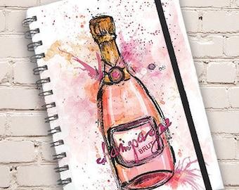 A5 Champagne Print Hardback Spiral Bound Notebook