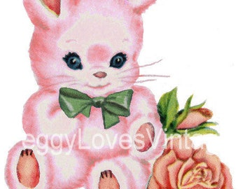 Pink Bunny with Green Bow Digital Image from Vintage Greeting Cards - Instant Download