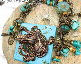 Cowgirl horse bracelet | Horse jewelry | Country western jewelry | Beaded bracelet | Horse gifts | Boho jewelry | Gift for her |