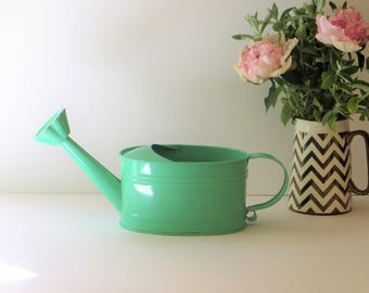 Vintage Small Enamel Teal Green Watering Can with Sprinkler Flower Shaped Spout