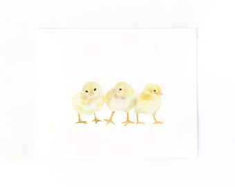 Baby Chicks Art Print, Bird Art Print, Farm Animal Print, Baby Chickens Art, Baby Animal Art, Nursery Print, Baby Shower Gift under 30