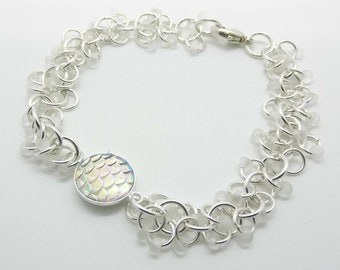 Sterling Silver Tiny Frosted Drop Seed Bead Mermaid Charm Chain Shaggy Loops Bracelet - Prima Donna Beads