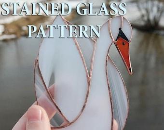 Stained glass white swan suncatcher pattern Stained glass white swan pattern Glass swan pattern Mosaics swan pattern