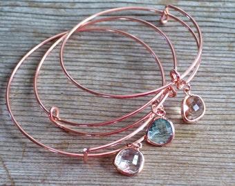 Rose Gold Bangle, Rose Gold Bracelet, Rose Gold Glass Drop, Bridesmaid Gift, Rose Gold Charm Bracelet, Minimalist Bracelet, Bridal Jewelry