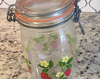 Vintage strawberry cannister jar