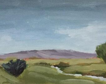 Paysage ORIGINAL peinture sur panneau de bois 6 x 12 vert paysage rural paysages petit paysage vert pamela munger