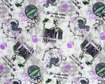Villains Patch Fabric, Villains Fabric, Female Villains, Maleficent, Ursula the Sea Witch, Evil Queen, By the Yard
