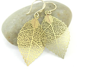 Gold Leaf Earrings Brass Filigree Earrings 14K Gold Filled Handmade Ear Wires Fall Jewelry Autumn Foliage Gold Dangle Earrings Gift for Her