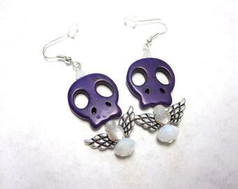 Day Of The Dead Earrings Sugar Skull Jewelry Purple Wings