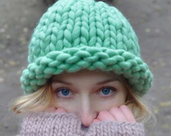Big merino hat Green Mint Bulky hat Winter beanie Merino wool Large-knitted hat Gift for her