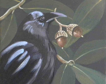 Double Happiness raven and acorns greeting card