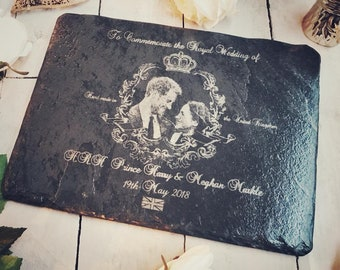 Royal Wedding Slate Collection |Prince Harry & Meghan Markle Photograph Engraved Rectangular Slate Placemat / Trivet / Cheeseboard| 30x22cm