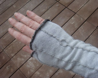 Fingerless Gloves Gray Fingerless Gloves Arm Warmers Texting Gloves Long Arm Warmers Cycling Gloves Gray Gloves