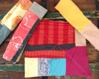 Set of four eco friendly cloth napkins, patchwork t-shirt, one of a kind, zero waste lunch, zero waste