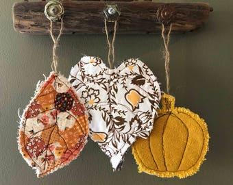 Set of three reclaimed textile autumn ornaments