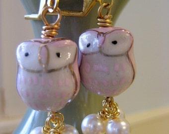 Faire fondre le hibou fondre avec vous en porcelaine hibou et Chouette Dangles perles avec vous.