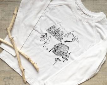 Winter Glendalough Tee - 100% Organic Cotton long sleeved Hand Printed T-Shirt
