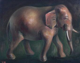 Original oil painting - Brown elephant