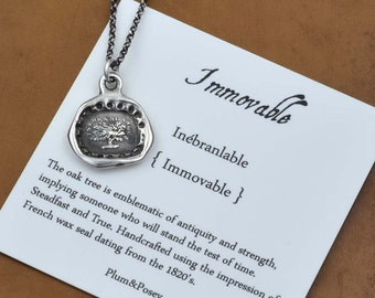 Immovable Oak Tree Wax Seal Necklace - 243